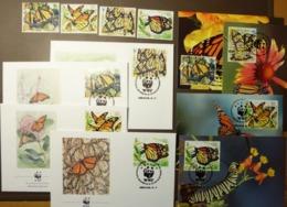 MEXIQUE  MEXICO 1988 Y&T 1257 à 1260 Monarch Butterfly Monarque Maxi Card FDC MNH ** #cover 4940 - W.W.F.