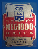 HOTEL MOTEL PENSION RESIDENCE MEGIDO MOUNT CARMEL HAIFA ISRAEL PALESTINE STICKER DECAL LUGGAGE LABEL ETIQUETTE AUFKLEBER - Etiketten Van Hotels