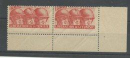 1944 Tunisie N° 249 ** Paire Avec Variété De Piquage, Bord De Feuille - Tunesien (1888-1955)