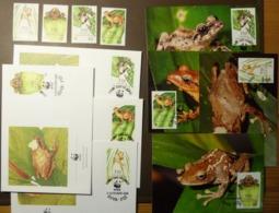 WWF Fiji Fidschi Baumfrosch Frosch Tree Frog Mi. 586-589  Maxi Card FDC MNH ** #cover 4941 - W.W.F.