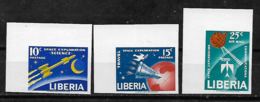 #A5A# LIBERIA MICHEL 602/604 IMPERFORATED MNH**. SPACE. - Liberia