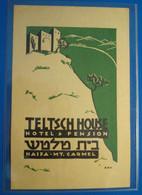 HOTEL MOTEL PENSION TELTSCH HOUSE MOUNT CARMEL HAIFA ISRAEL PALESTINE STICKER DECAL LUGGAGE LABEL ETIQUETTE AUFKLEBER - Hotel Labels