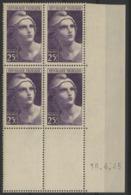 """N° 731 ** (MNH). Coin Daté Du 18/4/45 / """"Marianne De Gandon"""" - 1940-1949"""