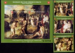 SMOM - Sovereign Military Order Of Malta - 2010 - Venice School - Baptism Of Christ - Mint Stamp Set + Souvenir Sheet - Malta (la Orden De)