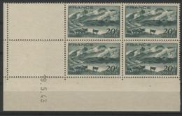 """N° 582 ** (MNH). Coin Daté Du 9/5/43 / """"Le Lac Lérié Et La Meije"""" - 1940-1949"""