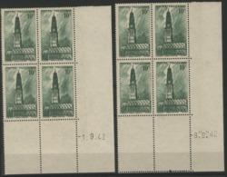 """N° 567 (x8) ** (MNH). Deux Coins Datés Du 1 Et 8/9/42  / Blocs De Quatre """"Beffroi D'Arras"""". - Ecken (Datum)"""