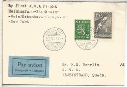 FINLANDIA PRIMER VUELO 1947 HELSINKI STOCKHOLM OSLO KOBENHAVN REYKJAVIK NEW YORK - Finland
