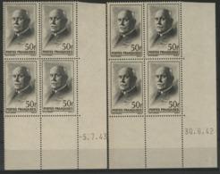 """N° 525 (x8) ** (MNH). Deux Coins Datés Du 30/6/42 Et 5/7/43 / Blocs De Quatre """"Pétain"""". - Dated Corners"""