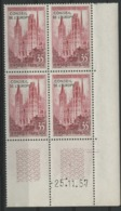 """N° 16 (Timbre De Service) ** (MNH). Coin Daté Du 25/11/57 / """"Cathédrale De Rouen"""" - 1950-1959"""