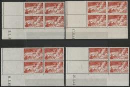 """N° 19 POSTE AERIENNE (x16) ** (MNH). Cote 140 €. Quatre Coins Datés Différents / Blocs De Quatre """"Char Du Soleil"""". - 1940-1949"""