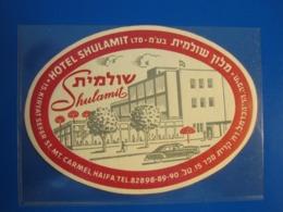 HOTEL PENSION MOTEL SHULAMIT MOUNT CARMEL HAIFA ISRAEL PALESTINE STICKER DECAL LUGGAGE LABEL ETIQUETTE AUFKLEBER - Hotel Labels
