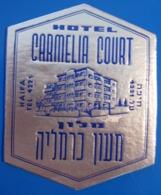 HOTEL PENSION MOTEL CARMELIA COURT MOUNT CARMEL HAIFA ISRAEL PALESTINE STICKER DECAL LUGGAGE LABEL ETIQUETTE AUFKLEBER - Etiketten Van Hotels