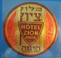 HOTEL PENSION MOTEL ZION SION MOUNT CARMEL HAIFA ISRAEL PALESTINE STICKER DECAL LUGGAGE LABEL ETIQUETTE AUFKLEBER - Hotel Labels
