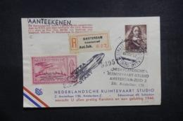 PAYS BAS - Carte Par Fusée En Recommandé De Amsterdam En 1946, Cachet Et Vignette Plaisants - L 43006 - Briefe U. Dokumente