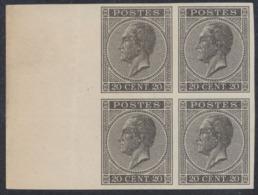 Essai - épreuve Des Planches (émission 1865, Londres) Sur Papier Blanc Lisse : 20ctm Noir En Bloc De 4 + BDF - Proofs & Reprints