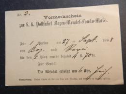 19997) VORMERKSCHEIN POSTFAHRT 1888 BOZEN MENDEL FONDO MALE' - BIGLIETTO TRENO O CARROZZA BOLZANO 12,5 X8 Cm - Bolzano (Bozen)