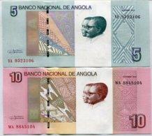 ANGOLA SET 2 UNC 5 10 KWANZAS 2012 / 2017 P NEW DESIGN 1 SET = 2 PCS - Angola
