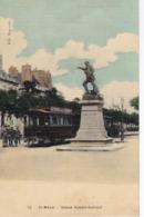 SAINT-MALO - Statue Robert Surcouf - Le Train - Animé - Carte Colorisée Toilée En Parfait état - Saint Malo