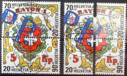 Schweiz Suisse 2000: EXPO NABA (RAYON I) Zu  Z124-Z127 Aus Mi Block 30 Zentral-o TRIMBACH 18.8.90 (Zu CHF 26.00) - Se-Tenant