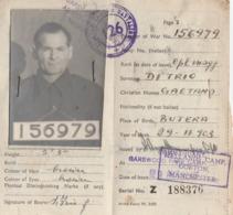 Documento D'Identita' Per Prigionieri Di Guerra - Mellands POW Camp Gorton - Manchester - Documents Historiques