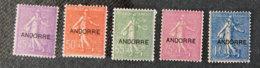 ANDORRE FRANCAIS - 1931 - YT 14 à 18 * - Semeuse Fond Ligné - Unused Stamps