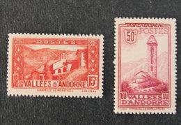 ANDORRE FRANCAIS - 1932 - YT 29 * + 35 * -  Chapelle De Meritxell + San Miguel Engolasters - Unused Stamps