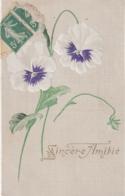 ***   Fleurs --- Pensée Relief  Dorure Sincere Amitié - TTB - Flores