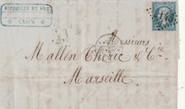 *** Lettre France Départ Lyon N)22 - Postmark Collection (Covers)