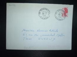 LETTRE TP LIBERTE 2,00 ROUGE OBL. Tiretée 30-7 1984 86 VOUZAILLES VIENNE - 1982-90 Liberté (Gandon)