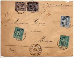 Sage : Lettre Chargée En Valeur Déclarée De 150F De Mayenne De 1892 Au Tarif De 70c - 1877-1920: Semi-Moderne