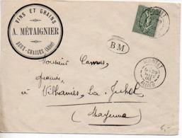 15c Semeuse Sur Lettre De 1903 - CaD 'Montet Allier' - Cachet BM - En-tête à 'Deux-Chaises Allier' - Postmark Collection (Covers)