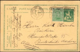 Belgium - Uprated Postal Stationery Card, Bruxelles 14.8.1919 - Burtscheid, Aachen. - Entiers Postaux
