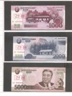 """Corea Del Nord - Banconote Non Circolate FdS SPECIMEN In Serie Completa 2002 & 2008 (2009) """"New Won"""" Issue - Specimen"""