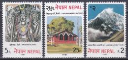 Nepal 1981 Wirtschaft Economy Tourismus Tourism Götter Hrishikesh Tempel Temples Baitadi Berge Mountains, Mi. 414-6 ** - Nepal