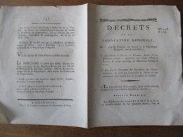 DECRET DE LA CONVENTION NATIONALE DU 1er JOUR DE VENTÔSE AN SECOND LOI APPLICABLE AUX DROITS D'ETAL A BOUCHER & AUTRES P - Decrees & Laws