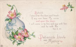 AR69 Religious - Behold. I Stand At The Door And Knock....Rev 3:20 - Flowers, Embossed - Other