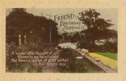 AR69 Greetings - To My Friend, Birthday Happiness - Garden Scene - Birthday