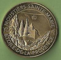 Médaille Touristique Monnaie De Paris 2019 MOUSTIERS SAINTE MARIE Provence PLUS BEAUX VILLAGES DE FRANCE Faïence église - 2019