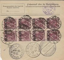 DR INFLA 1922  PAKETKARTE   Mef 10 X  157 MAINZ  à LA BRESSE   PK81 - Germany