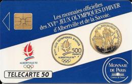Télécarte Monnaies Officielles Des Jeux Olympiques 50 U 1991 - Frankreich