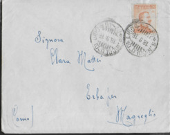 STORIA POSTALE REGNO - ANNULLO FRAZIONARIO CSLR - S.NICOLO' DI LIDO 67-46 SU BUSTA CON CONTENUTO 18.09.18 PER MAGREGLIO - 1900-44 Vittorio Emanuele III