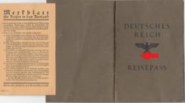 38, Reisepaß Deutsches Reich Für Einen Mann Aus Wien Von 1938 ! - Documenti