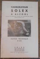 Carburateur Solex A L'Alcool Notice Technique N°27 B - Automobili