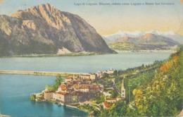 """SCHWEIZ LUGANO 1920 Gel. AK """"Lago Di Lugano. Bissone, Veduta Verso Lugano E Monte San Salvatore"""" S.A. Edizioni Colortype - TI Tessin"""
