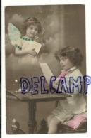 Photographie Montage. Gelukkig Nieuwjaar. Petit Garçon Qui écrit. En Médaillon : Petite Fille (ange). 1916 - Künstlerkarten