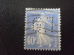 FRANCE TIMBRE SEMEUSE 237 GT128 PERFORE PERFORES PERFIN PERFINS PERFORATION PERFORIERT LOCHUNG PERFORATI PERCE - Perforés