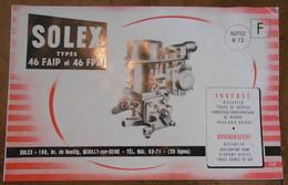 Solex Types 46 FAIP Et 46 FPAI Inversé Bistarter Pompe De Reprise Correcteur Complémentaire De Richesse Prise D'Air Uniq - Voitures