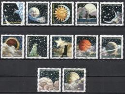 France - Adhésifs N° 1324 à 1335 Oblitérés - Série Complète - Correspondances Planétaires - Illustrateur Guy Coda - France