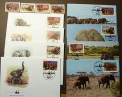 Uganda  1983  N°Yv. 316 à 319 - Elephant Afrikanische Elefanten 361-364 WWF Maxi Card FDC MNH ** #cover 4953 - W.W.F.