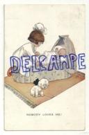 """Petite Fille, Bébé Dans Son Berceau, Petit Chien Qui Pleure. """"nobody Loves Me !"""" Signée Attwell. 1929 - Attwell, M. L."""